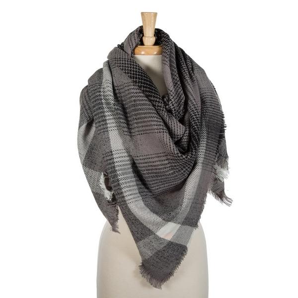 211b94676b74 Navy blue and orange plaid blanket scarf with frayed edges. 100 ...