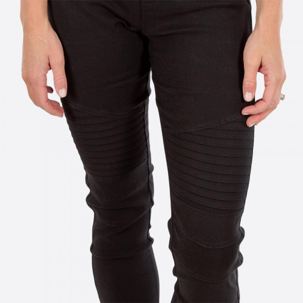 """Black Moto Jeggings with faux front pockets and real back pockets. 65% polyester, 30% cotton, and 5% spandex. 30"""" inseam. Sold in packs of six - two 1X, two 2X, and two 3X. Approximate fit in U.S. sizes: 1X 16-18, 2X 20-22, 3X 24-26. These are slim fit jeggings, so we recommend your customers choose a size up."""