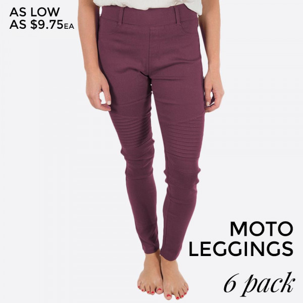 Wholesale mauve Moto Jeggings faux front pockets real back pockets polyester cot