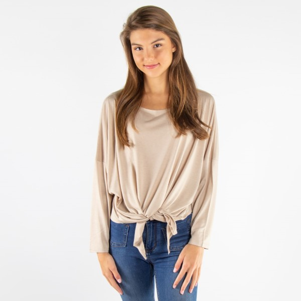 Soft, long sleeve top with a relaxed fit and front tie. 65% viscose and 35% polyester. One size.