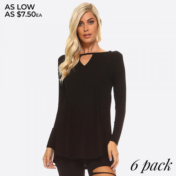 The swing silhouette flatters every figure.   • Lightweight jersey tunic.  • Crew neckline.  • Long sleeves.  • Relaxed silhouette.  • Pullover style.  • Rayon/spandex.  • Imported    Composition: 95% Rayon, 5% Spandex   Pack Breakdown: 6pcs/pack. 2S: 2M: 2L