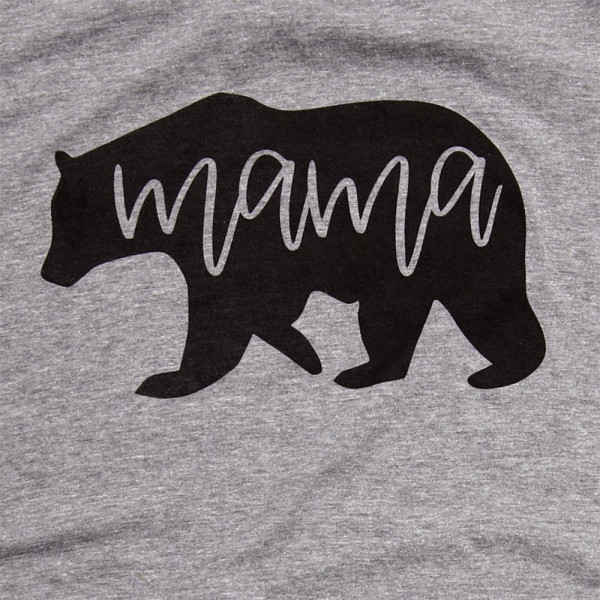 Mama Bear - Short Sleeve Boutique Graphic Tee. These t-shirts are sold in a 6 pack. S:1 M:2 L:2 XL:1 Color: Gray 50% Cotton 50% Polyester Brand: Anvil