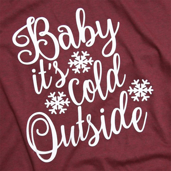 Baby It's Cold Outside - Short Sleeve Boutique Graphic Tee. These t-shirts are sold in a 6 pack. S:1 M:2 L:2 XL:1 52% Cotton 48% Polyester Brand: Bella Canvas