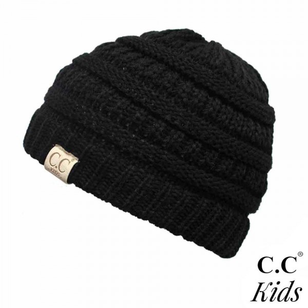 """YJ-847-KIDS: The original C.C beanie style for kids. 100% acrylic. Measures 7"""" in diameter and 7"""" in length. Approximate fit: toddler to 7 years of age."""