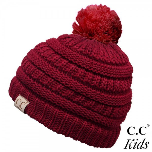 """YJ-847-KIDS-POM: C.C Kids Exclusive Pom Pom Beanie. 100% acrylic. Measures 7"""" in diameter and 8"""" in length.  Approximate fit: 4 to 7 years of age."""