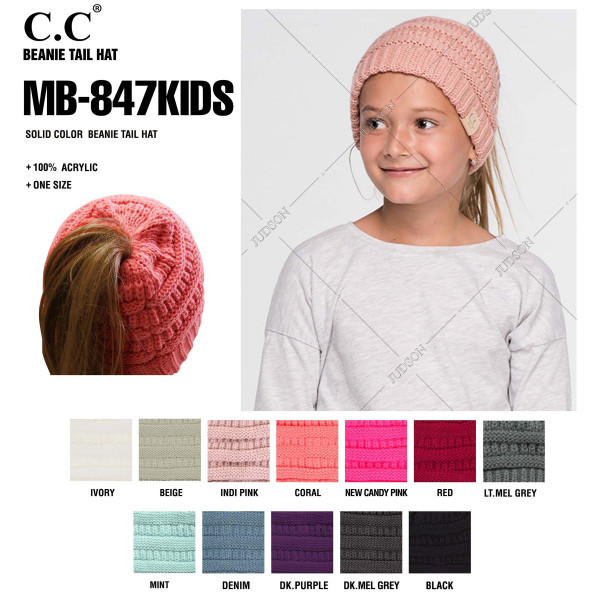 "C.C™ Kids MessyBun BeanieTail™. 100% acrylic. Measures 7"" in diameter and 7"" in length. Approximate fit: toddler to 7 years of age."