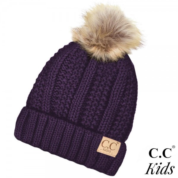 C.C Kids Exclusive faux fur pom pom beanie. 100% acrylic. Measures 7