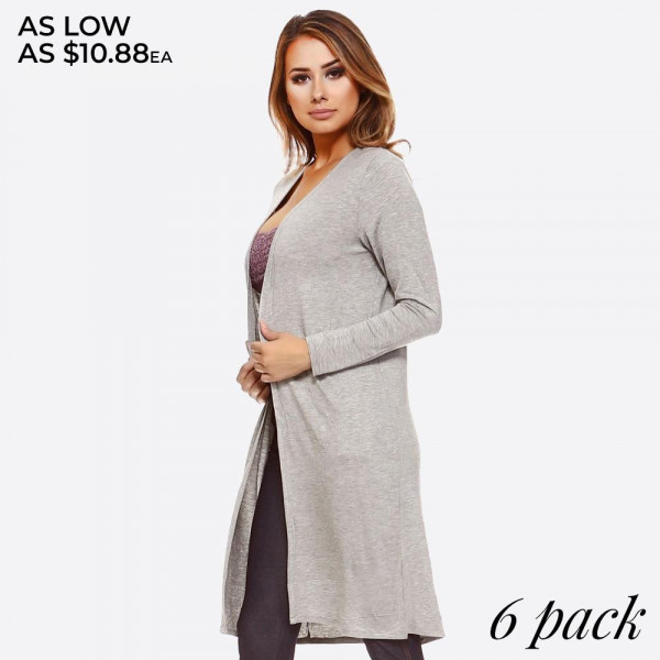 A lightweight textured knit cardigan featuring,   • Open Front  • Long Sleeves  • Longline Silhouette  • Slightly Fitted through Body  • Care: Hand Wash Cold, Do not Bleach, Tumble Dry, Iron Low, Do not Dry Clean  • Imported   Composition: 95% Rayon, 5% Spandex   Pack Breakdown: 6pcs/pack. 2S: 2M: 2L