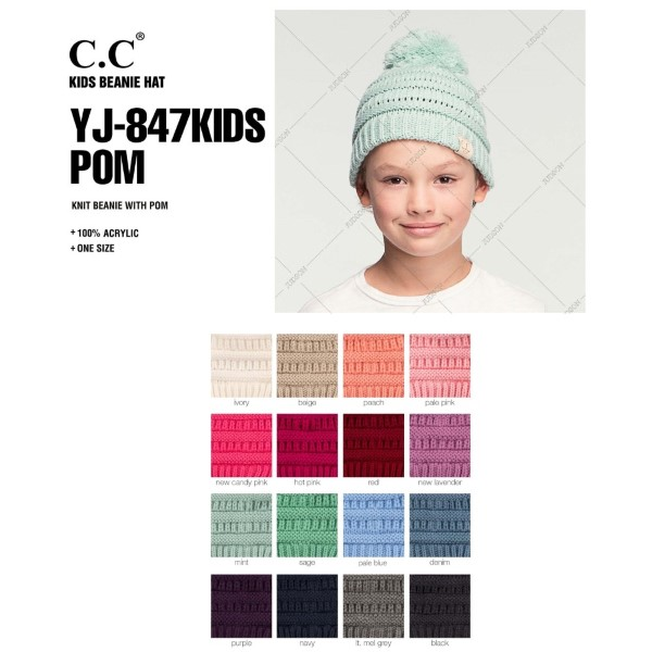 """C.C YJ-847-POM-KIDS Solid color knit pom beanie for kids  - 100% Acrylic - Band circumference is approximately:  14"""" unstretched  18"""" stretched - Approximately 6.5"""" long from crown to band - Fit varies based on child's head height and shape"""
