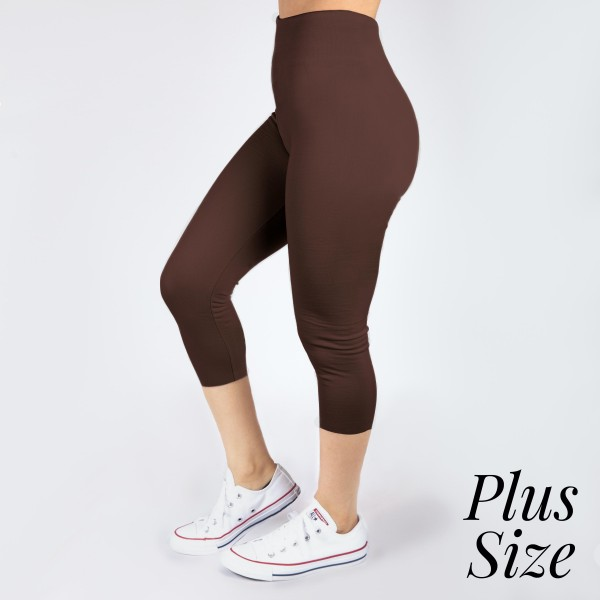 PLUS SIZE - New Kathy / New Mix brown, summer-weight capris are seamless, chic, and a must-have for every wardrobe. These lightweight, interchangeable styles are versatile, perfect for layering, and available in many shades. Smooth fabric, 92% Nylon 8% Spandex. One size, fits US women's 16-20.