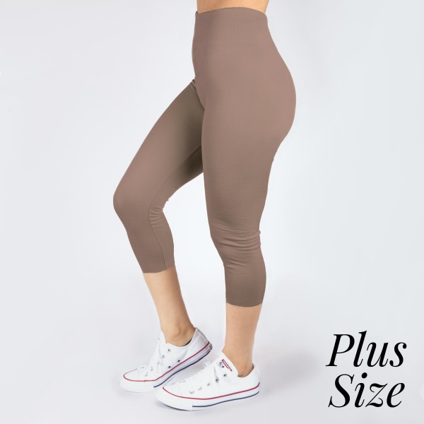 PLUS SIZE - New Mix mocha, summer-weight capris are seamless, chic, and a must-have for every wardrobe. These lightweight, interchangeable styles are versatile, perfect for layering, and available in many shades. Smooth fabric, 92% Nylon 8% Spandex. One size, fits US women's 16-20.