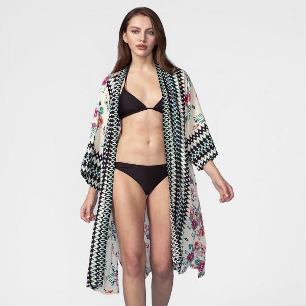 Wholesale lightweight long kimono tropical floral print aztec pattern down front