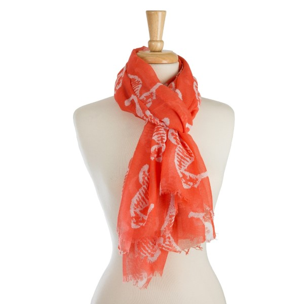 Wholesale lightweight scarf seahorse print frayed edges polyester