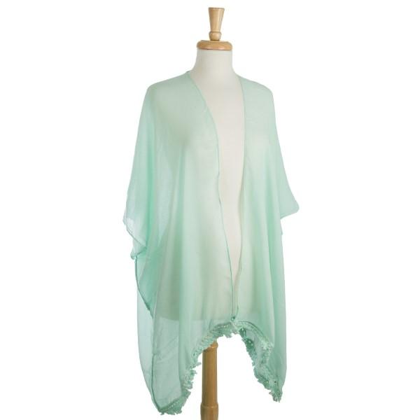Wholesale lightweight kimono cutouts down center back polyester viscose One fits
