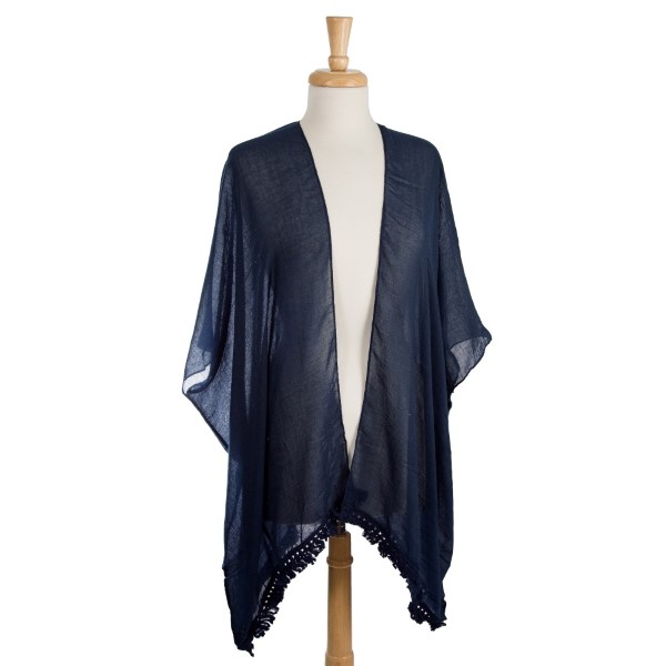 Wholesale lightweight kimono cutouts down center back polyester viscose One fits