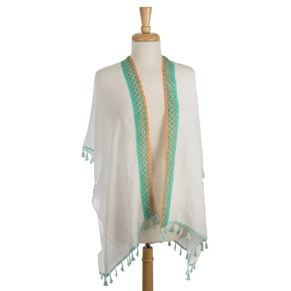 Wholesale lightweight white kimono colorful embroidered tassel accents polyester