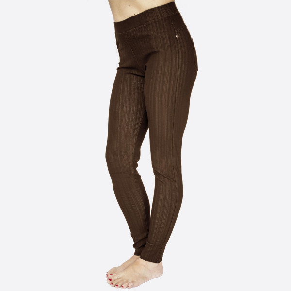 """Premium brown denim back pocket ankle jeggings made of premium stretch denim material   Features back pockets embellished with studs detail. One size fits most dress size 0-14. Approx 30"""" inseam. 75% Cotton, 17% Polyester, 8% Spandex."""