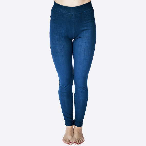 "Premium denim back pocket ankle jeggings made of premium stretch denim material   Features back pockets embellished with studs detail. One size fits most dress size 0-14. Approx 30"" inseam. 75% Cotton, 17% Polyester, 8% Spandex."