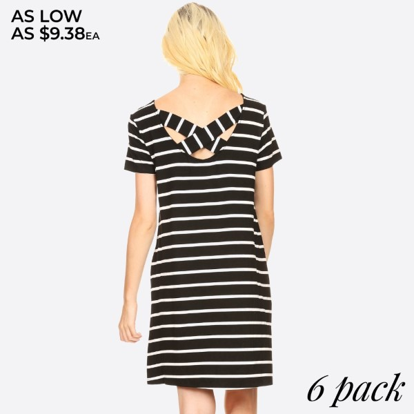 Comfy Tunic T-Shirt Dress is perfect to wear as a sexy casual day summer dress or pair it with leggings for a more cozy look. Striped short sleeve dress with pockets and crossed back.   • Scoop Neckline  • Short Sleeve  • Side Pockets  • Closure Style: Pullover  • Rayon/Spandex  • Machine wash, lay flat to dry   Content: 95% Rayon, 5% Spandex   Pack Breakdown: 6pcs/pack. 2S: 2M: 2L