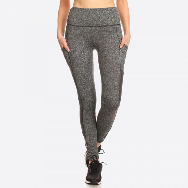 Women's Ultimate Tummy Control Leggings With Side Pocket & Strap Details. Solid, Skinny Fit Sports Legging with a banded elastic high waist, body slimming tummy control, side pocket, mesh, and strap details  SIZE:S-M-L-XL(1-2-2-1) PACKAGE:6PCS/PREPACK 92%POLYESTER  8%SPANDEX  MESH: 90%POLYESTER  10%SPANDEX MADE IN CHINA