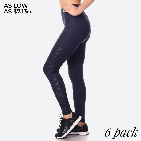Wholesale women s Activewear Leggings Contrast Mesh Criss Cross Side Panels Soli