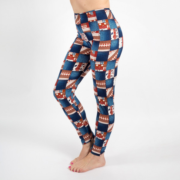 """New Mix printed peach skin leggings are seamless, chic, and a must-have for every wardrobe. These lightweight, full-length leggings have a 1"""" waistband. They are versatile, perfect for layering, and available in many unique prints. 92% Polyester 8% Spandex. One size fits most, fits US women's 0-14."""