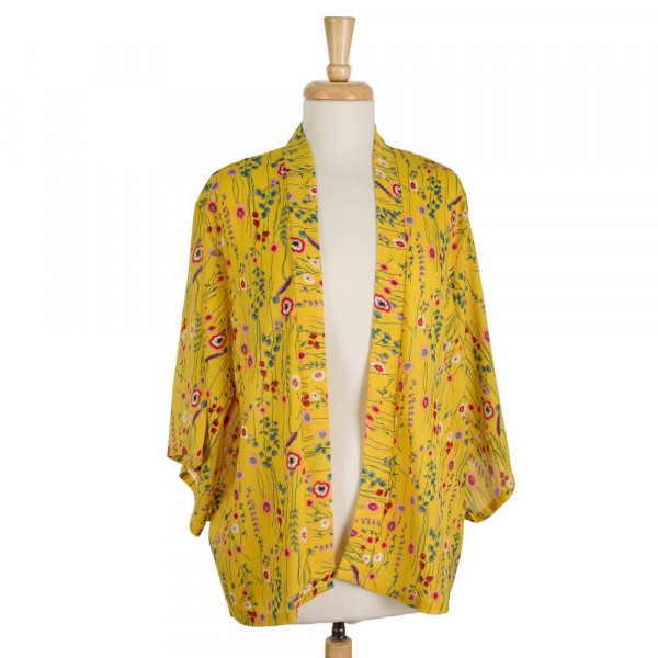 Lightweight, 3/4 length sleeve kimono with a floral print. 100% polyester. One size fits most.
