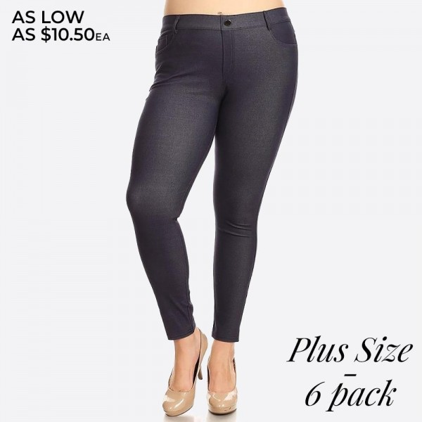"Denim like pull on style plus size jeggings with front and back pockets.  • Full length jeggings featuring a light sheen and jean-style construction • Lightweight, breathable cotton-blend material for all day comfort • Belt loops with 5 functional pockets • Shake Head Button • Super Stretchy • Pull up Style  - Pack Breakdown: 6pcs / pack - Size: 2-XL / 2-2XL / 2-3XL - Inseam approximately 29"" L - 70% Cotton, 25% Polyester, 5% Spandex"