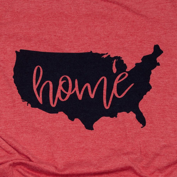 """""""Home"""" Short Sleeve Boutique Graphic Tee. These t-shirts are sold in a 6 pack. S:1 M:2 L:2 XL:1 35% Cotton 65% Polyester Brand: Anvil"""