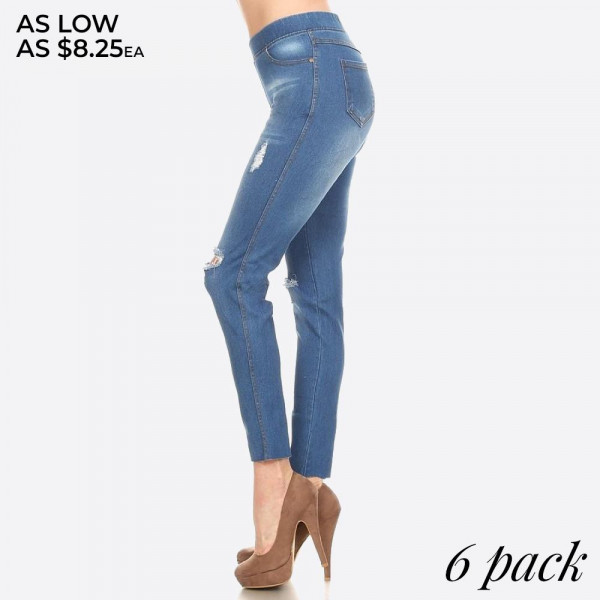 Women's Classic Distressed Skinny Jeggings. These jeggings are styled to resemble a pair of jeans. Get both comfort and style!  • Super Stretchy  • Pull up Style  Composition: 76% Cotton, 22% Polyester, 2% Spandex  Pack Breakdown: 6pcs/pack. 1S: 2M: 2L: 1XL