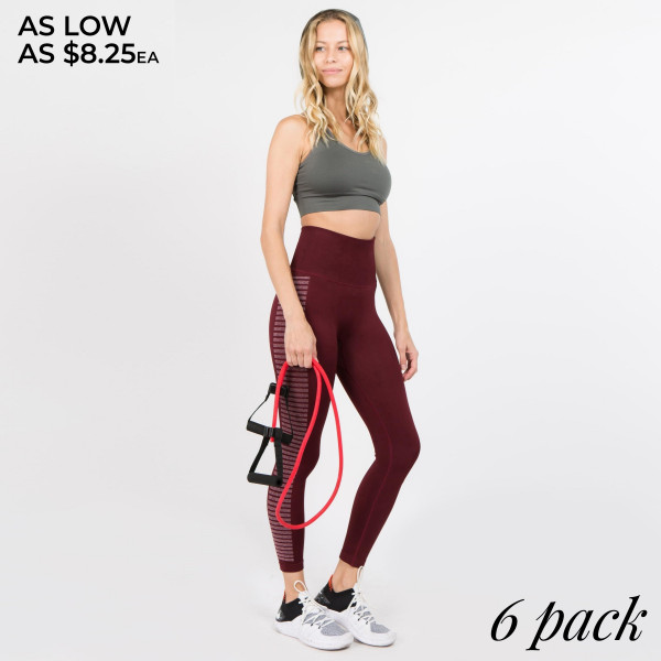 Get ready to move it and groove it- or at least get your workout on in these active leggings. They feature a high rise built-in compression waist and side flex stripes that help you have movement and comfort. Pair with a cute sports bra and athletic sneakers and get ready to sweat!   • High rise slimming waistband  • Side flex striped pattern along legs  • Quick-dry wicking fabric  • Opaque color  • Long, skinny leg design  • Side Stripped Detail  • Thick, comfortable waistband. • Moisture Management  • Pull-on styling: thick elastic waistband  • Polyester/Spandex  • Hand Wash Cold. Do not bleach. Hang Dry  • Imported   Composition: 88% Nylon, 8% Spandex, 4% Polyester   Pack Breakdown: 6pcs/pack. 2S: 2M: 2L