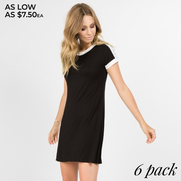 This adorable sporty-chic dress will definitely inspire you to add it into your athleisure collection. It features,   - Contrast stripe along the neckline, shoulders and sleeves  - Crew neckline  - Soft and stretchy  - Relax Fit  - Above the knee length hem  - Pair with canvas sneakers and sunnies for a trendy, everyday style  - Imported   Content: 95% Rayon, 5% Spandex   Pack Breakdown: 6pcs/pack. 2S: 2M: 2L