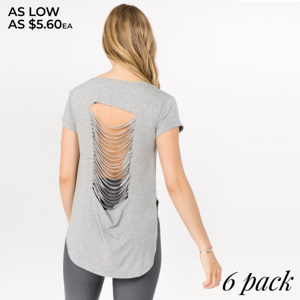 Our newest addition, this flirty cutout back top makes a lot of heads turn! Bare that beautiful back for some sunshine outdoors or some cooling off during practice.   • Slashed-Back Detail  • Curved Hem  • Short Sleeves  • Relax Fit  • Round Neckline  • Imported   Content: 95% Rayon, 5% Spandex   Pack Breakdown: 6pcs/pack. 2S: 2M: 2L