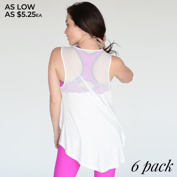 Refresh your active wardrobe with our Sleeveless Mesh Active Top. Its crew neckline, soft material and loose fitted bodies makes it classic, while a sheer fabrication at back lends ready-to-wear sensibility to this statement-making separate.   • Loose-fitted  • Crew Neckline  • Rounded-Hem  • Sleeveless  • Peek-a-Boo Mesh Inset on the Back  • Stretchy  • Imported   Composition:   Pack Breakdown: 6pcs/pack. 2S: 2M: 2L