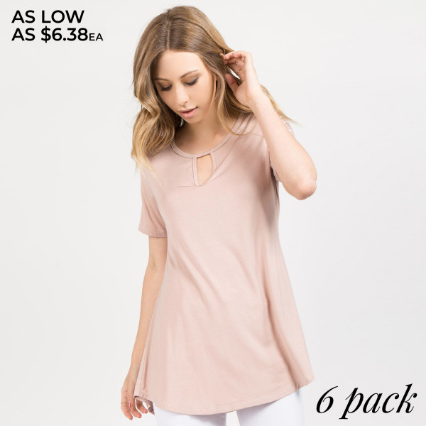 This Short Sleeve Key Hole Top looks as good as it feels with its unique keyhole detail.   • Key Hole Detail  • Lightweight jersey tunic  • Crew neckline  • Short sleeves  • Relaxed silhouette  • Pullover style  • Rayon/spandex  • Imported    Composition: 95% Rayon, 5% Spandex   Pack Breakdown: 6pcs/pack. 2S: 2M: 2L