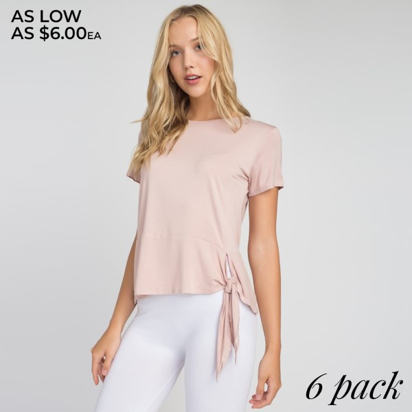 A casual tee in a lightweight knit gets a playful twist-literally-from a knotted keyhole hemline that lends a distinctively cool look.   • Tie-Front Detail  • Knotted keyhole Self-Tie Hemline  • Bateau Neckline  • Short Sleeves.  • Pull-Over Style  • Relax Fit   Composition: 95% Rayon, 5% Spandex   Pack Breakdown: 6pcs/pack. 2S: 2M: 2L
