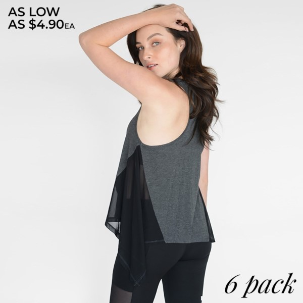 Performance Asymmetrical-Hem Active Top. Yelete creates active clothing for women that can be worn to the gym or for casual everyday wear.   • Loose-fitted  • Racerback Tank Top  • Scooped Neckline  • Asymmetrical-Hem  • Sleeveless  • Peek-a-Boo Mesh Inset on the Sides  • Stretchy  • Imported   Composition:   Pack Breakdown: 6pcs/pack. 2S: 2M: 2L