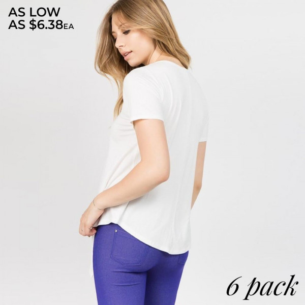 In a soft tri-blend fabrication with moisture-wicking properties to keep you cool - this active top features an asymmetrical hem with slits throughout - allowing you to create an effortless - wrapped look.   - V-neckline  - Short Sleeves  - Open Front Cross w/Tie Closure  - Super Soft  - Stretchy  - Imported   Composition: 95% Rayon, 5% Spandex   Pack Breakdown: 6pcs/pack. 2S: 2M: 2L