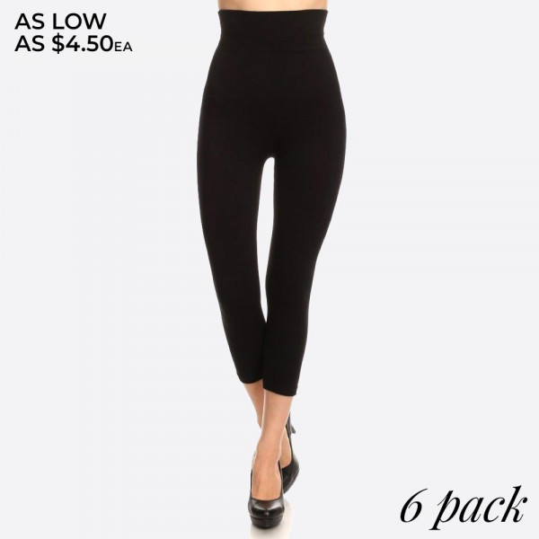 Wholesale waisted compression capri leggings have compression control top flatt