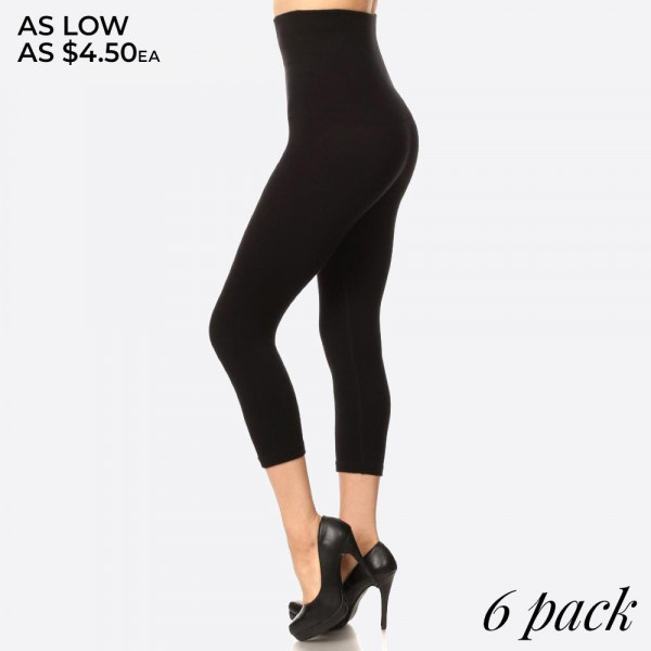 These high waisted compression capri leggings have a compression control top that flattens your tummy and contours your waistline for an hourglass silhouette. 
