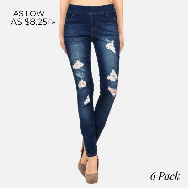 Women's Classic Distressed Skinny dark wash Jeggings. These jeggings are styled to resemble a pair of jeans. Get both comfort and style!  � Super Stretchy  � Pull up Style  Composition: 76% Cotton, 22% Polyester, 2% Spandex  Pack Breakdown: 6pcs/pack. 2S: 2M: 2L