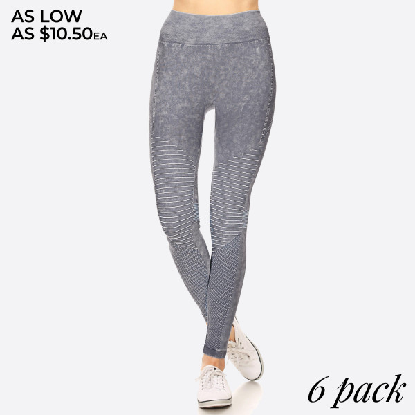 There's nothing better than a pair of soft, vintage wash, stretchy leggings. And this version features a moto design adds edgy appeal to your look for a sexy-sleek way to relax.   - Vintage Wash, Super Stretchy and Soft  - Moto Style Seaming  - Skinny Fit  - Pull-On Style  - Mid Rise  - Imported   Pack Breakdown: 6pcs/pack. 2SM: 2ML: 2LXL