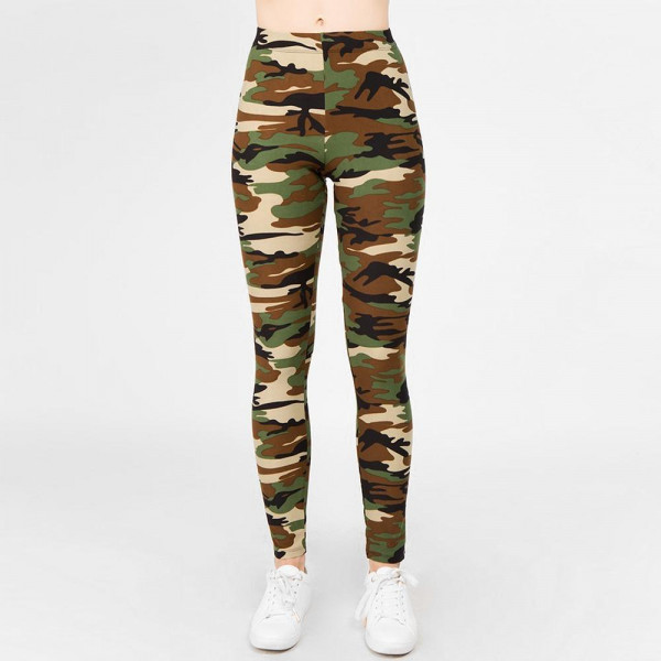 Cute in camo! A pair of camouflage print leggings, featuring a stretch-knit fabric with a classic camo print look that's sure to please! Leggings are made with a banded waist, body-hugging fit, and finished hem at the ankles.   - Long, skinny leg design  - Mid-Waist  - Camouflage Print  - Pull-on styling  - Hand Wash Cold. Do not bleach. Hang Dry  - Imported   One Size Fits Most 0-14.