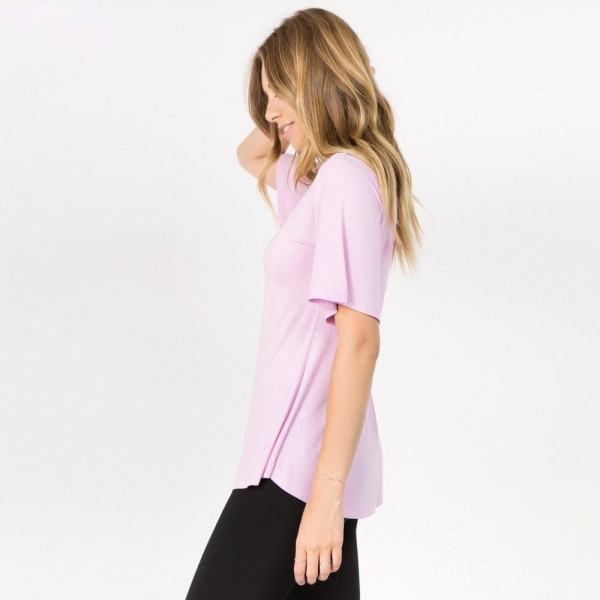 "Solid color REGULAR SIZE short sleeve tunic top. Approximately 25"" in length.  Pack Breakdown: 6pcs / pack  Sizes: 2S / 2M / 2L  Composition: 95% Rayon 5% Spandex"