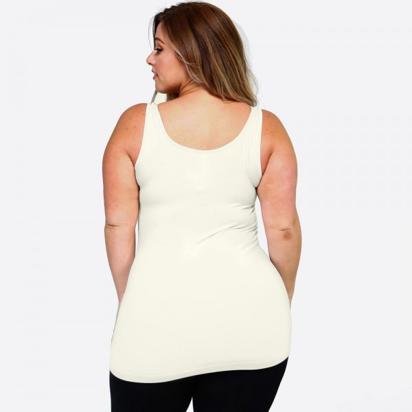 """Women's Plus solid color seamless tank top.  • Round Neckline • Body-con • Sleeveless • Fitted • Solid Color • Super Soft • Stretchy  - One size fits most plus 16-22 - Approximately 22"""" L  - 92% Nylon, 8% Spandex"""