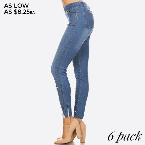Women's Classic Distressed Skinny Jeggings with pearl and rhinestone detail. These jeggings are styled to resemble a pair of jeans. Get both comfort and style!  - Pearl embellishments at bottom of jeggings - Super Stretchy  - Pull up Style  Composition: 76% Cotton, 22% Polyester, 2% Spandex  Pack Breakdown: 6pcs/pack. 2S: 2M: 2L