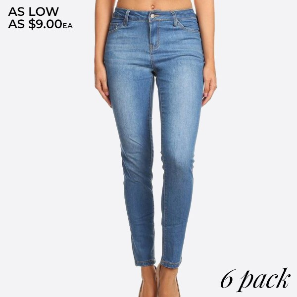 Denim, high waisted skinny jeans in a fit style, with a button/zipper closure, pockets, and slight rips.   Composition: 76% Cotton, 22% Polyester, 2% Spandex  Pack Breakdown: 6pcs/pack. 1S: 2M: 2L: 1XL
