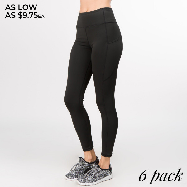 Better than ever: Moisture wick performance fabric with 4-way stretch meets a new waistband that slims and stays in place! Three convenient pockets hold your phone, keys, and cards so you can give any workout all you got.   • Flattening elasticized waistband with interior pocket and back zipper pocket  • Figure sculpting skinny leg design  • Exterior side pocket along leg  • Stretchy nylon fabric moves with you, slims, and is quick drying  • flat seams for a no-chafe irritation  • 4-way-stretch fabric for a move-with-you feel  • Flat-locked seaming for extra comfort  • Ankle-length  • Hand Wash Cold, Do Not Bleach, Hang Dry  • Imported   Composition: 88% Polyester, 12% Spandex   Pack Breakdown: 6pcs/pack. 2S: 2M: 2L
