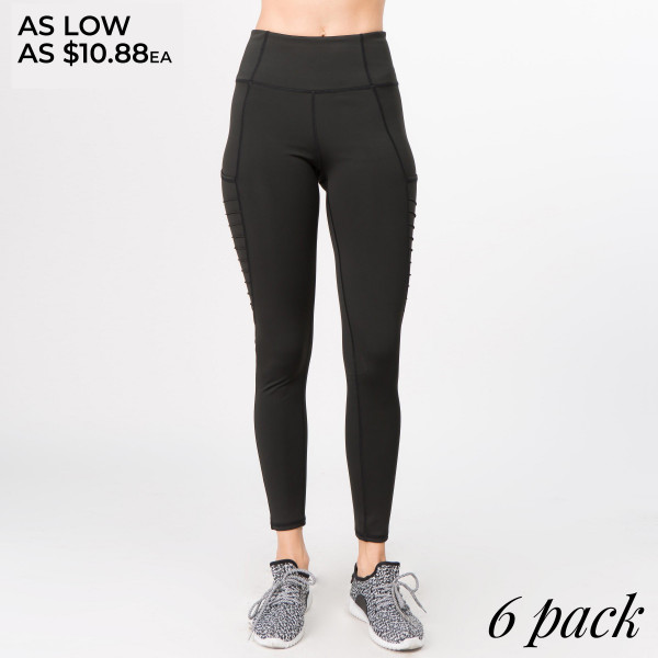 Go the extra mile on your run or to the coffee shop for an afternoon jolt in these active leggings. Ultra smooth, nylon blend fabric features moto sewn-in ridges to help muscle aches and give you flexibility. Hold all your essentials in the three open pockets at the waist and legs.   • Specialty knit moto ridges are sewn into legs giving you movement and style  • compression waistband creates a streamline finish  • No chafing or irritation against skin with flat lock stitching  • power mesh bottom panel for breath-ability  • 4-way-stretch fabric for a move-with-you feel  • Flat-locked seaming for extra comfort  • Ankle-length  • Hand Wash Cold, Do Not Bleach, Hang Dry  • Imported   Composition: 83% Nylon, 17% Spandex   Pack Breakdown: 6pcs/pack. 2S: 2M: 2L