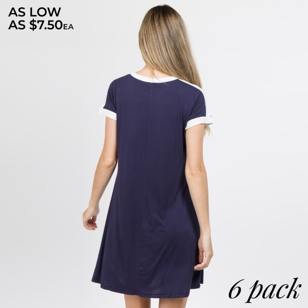 This adorable sporty-chic dress will definitely inspire you to add it into your athleisure collection. It features,   • Contrast stripe along the neckline, shoulders and sleeves  • Crew neckline  • Soft and stretchy  • Relax Fit  • Above the knee length hem  • Pair with canvas sneakers and sunnies for a trendy, everyday style  • Imported   Content: 95% Rayon, 5% Spandex   Pack Breakdown: 6pcs/pack. 2S: 2M: 2L